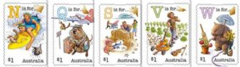 AUS SG4544-8 Fair Dinkum Aussie Alphabet (Part 1) self-adhesive set of 5 from booklets (exSB542-6)